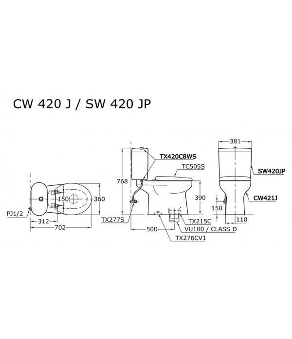 TOTO Closet Duduk CW 420 - Tutup Eco Washer